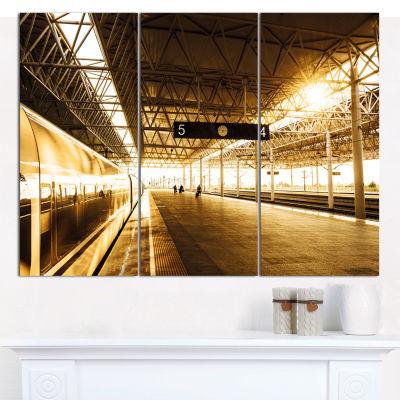 Designart Train At Railway Station With Sunlight Landscape Canvas Art Print - 3 Panels