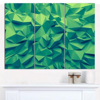 Designart Trendy Emerald Green Background AbstractCanvas Art Print - 3 Panels