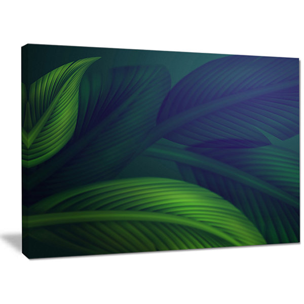 Designart Tropic Jungle Leaves Background Floral Canvas Art Print