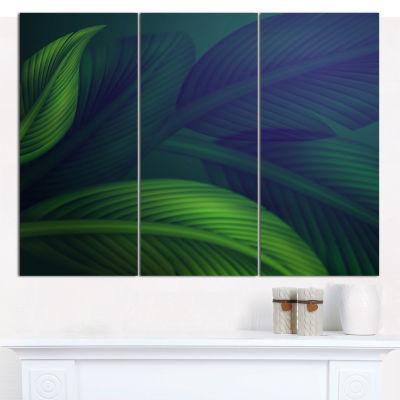 Designart Tropic Jungle Leaves Background Floral Canvas Art Print - 3 Panels