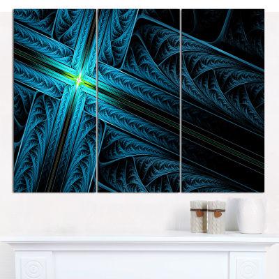 Designart Turquoise Fractal Cross Design AbstractCanvas Art Print - 3 Panels