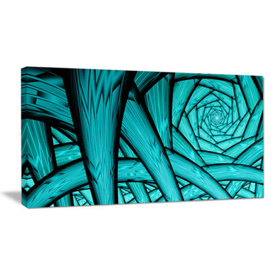 Designart Turquoise Fractal Endless Tunnel Abstract Canvas Art Print