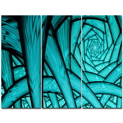 Designart Turquoise Fractal Endless Tunnel Abstract Canvas Art Print - 3 Panels