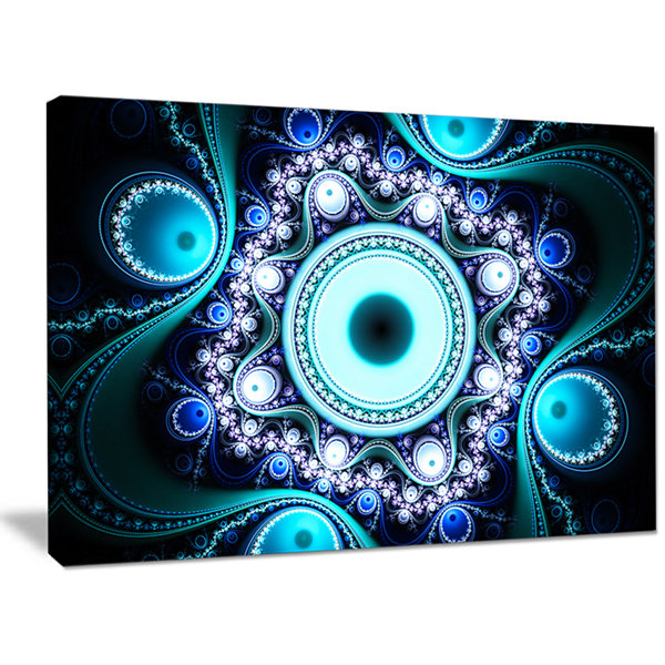 Designart Turquoise Fractal Pattern With Circles Abstract Canvas Art Print