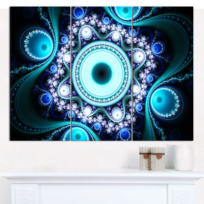 Designart Turquoise Fractal Pattern With Circles Abstract Canvas Art Print - 3 Panels