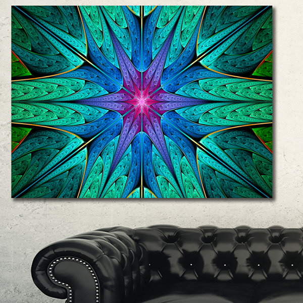 Designart Turquoise Star Fractal Stained Glass Abstract Canvas Art Print