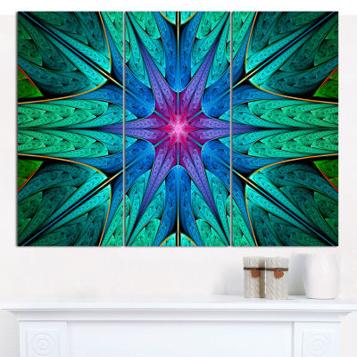 Designart Turquoise Star Fractal Stained Glass Abstract Canvas Art Print - 3 Panels
