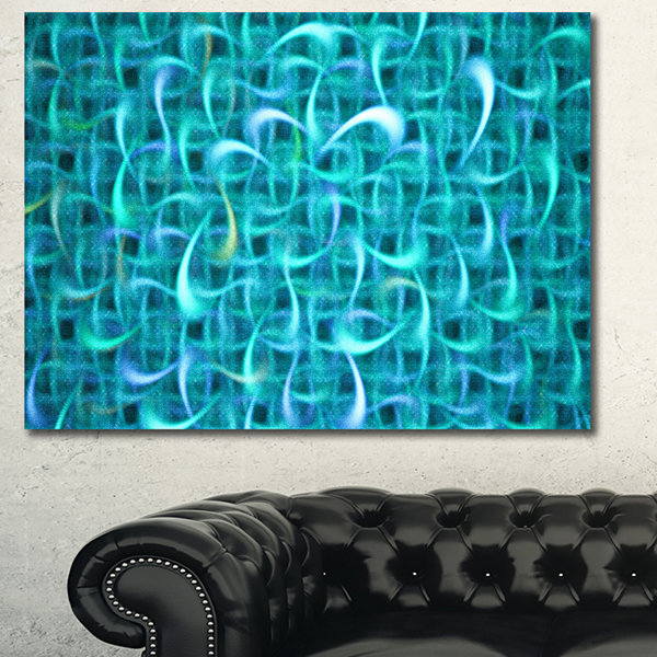 Designart Turquoise Watercolor Fractal Pattern Abstract Art On Canvas