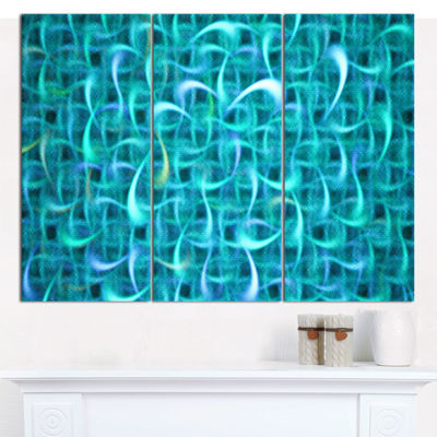 Designart Turquoise Watercolor Fractal Pattern Abstract Art On Canvas - 3 Panels
