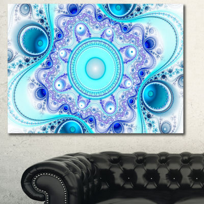 Designart Turquoise Wavy Curves And Circles Abstract Canvas Art Print