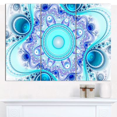 Designart Turquoise Wavy Curves And Circles Abstract Canvas Art Print - 3 Panels