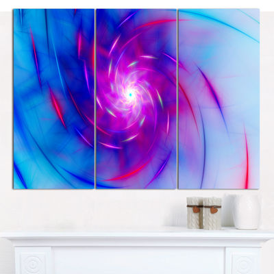 Designart Turquoise Whirlpool Fractal Spirals Abstract Art On Canvas - 3 Panels