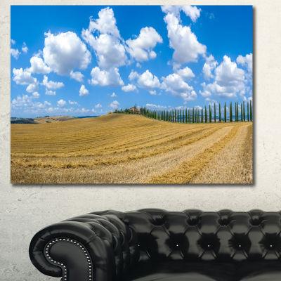Designart Tuscany With Traditional Farm House Landscape Canvas Art Print