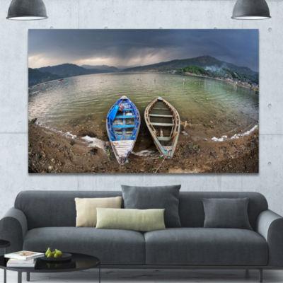 Designart Two Boats Near Pokhara Lake Boat CanvasArt Print