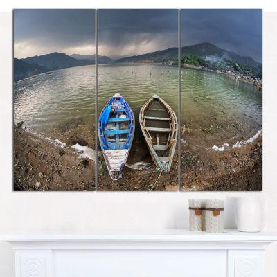 Designart Two Boats Near Pokhara Lake Boat CanvasArt Print - 3 Panels