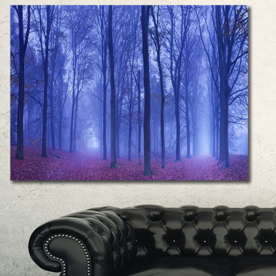 Designart Two Paths In Foggy Blue Forest LandscapeCanvas Art Print