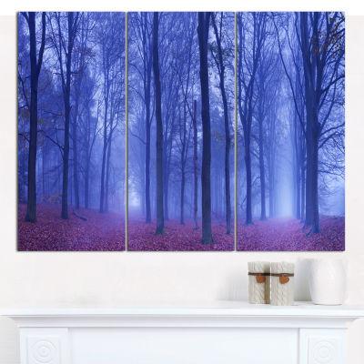 Designart Two Paths In Foggy Blue Forest LandscapeCanvas Art Print - 3 Panels