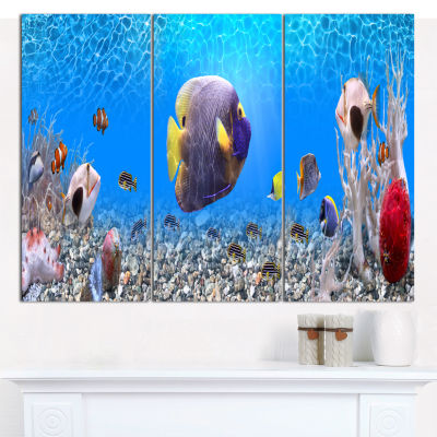 Designart Underwater Universe Panorama Landscape Canvas Art Print - 3 Panels