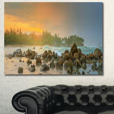 Designart Untouched Tropical Beach Panorama Landscape Canvas Art Print