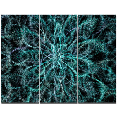 Designart Unusual Starry Fractal Metal Grill Abstract Canvas Wall Art - 3 Panels