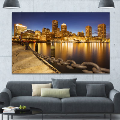 Designart Usa Skyline From Fan Pier At Night Cityscape Canvas Art Print