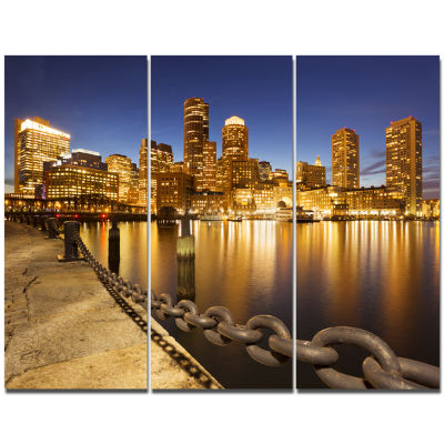 Designart Usa Skyline From Fan Pier At Night Cityscape Canvas Art Print - 3 Panels