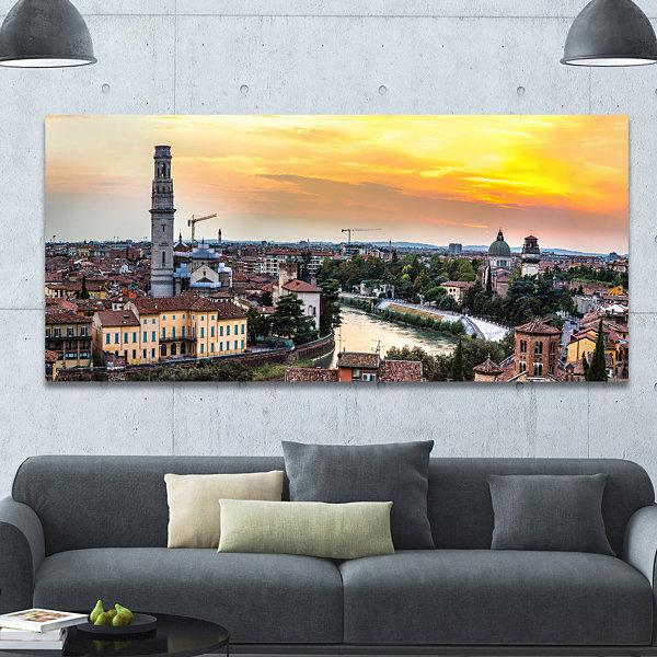 Designart Verona At Sunset In Italy Cityscape Canvas Art Print