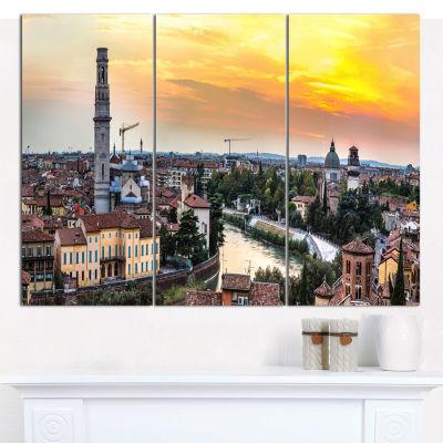 Designart Verona At Sunset In Italy Cityscape Canvas Art Print - 3 Panels