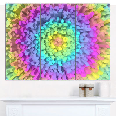 Designart View Of Colorful Geometric Shapes Abstract Art On Canvas - 3 Panels