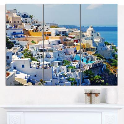 Designart View Of Fira Town Santorini Abstract Wall Art Canvas - 3 Panels