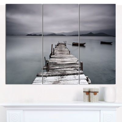 Designart Pier And Boats At Seashore Bridge CanvasArt Print - 3 Panels
