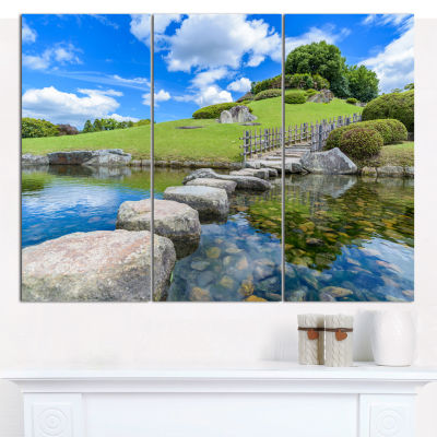 Design Art Japanese Garden In Okayama Landscape Canvas Wall Art - 3 Panels