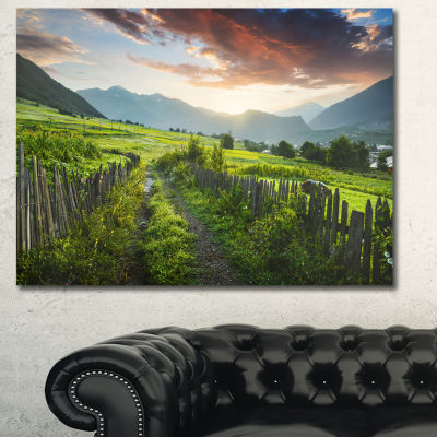 Designart Green Georgian Mountain Valley LandscapeCanvas Wall Art