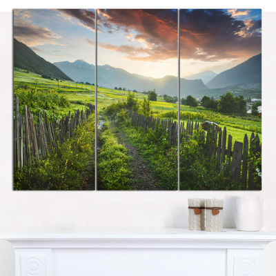Design Art Green Georgian Mountain Valley LandscapeCanvas Wall Art - 3 Panels