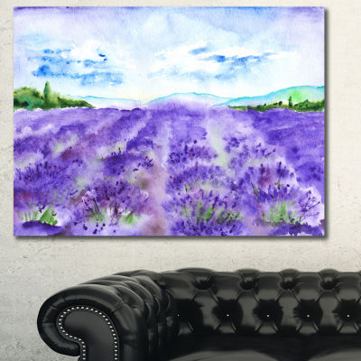 Designart Lavender Fields Watercolor Landscape Canvas Wall Art