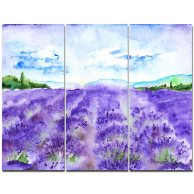 Designart Lavender Fields Watercolor Landscape Canvas Wall Art - 3 Panels