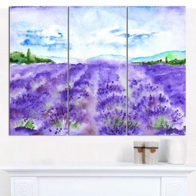 Design Art Lavender Fields Watercolor Landscape Canvas Wall Art - 3 Panels