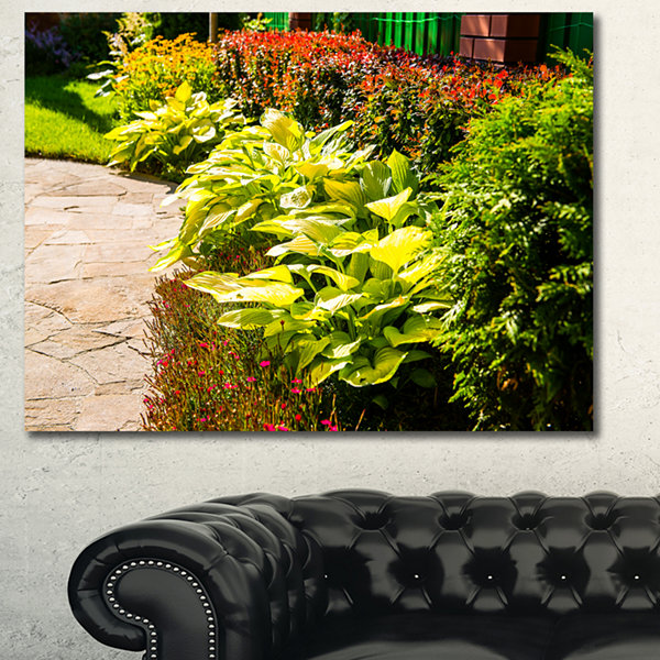 Designart Modern Green Garden Design Landscape Canvas Wall Art