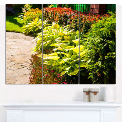 Designart Modern Green Garden Design Landscape Canvas Wall Art - 3 Panels