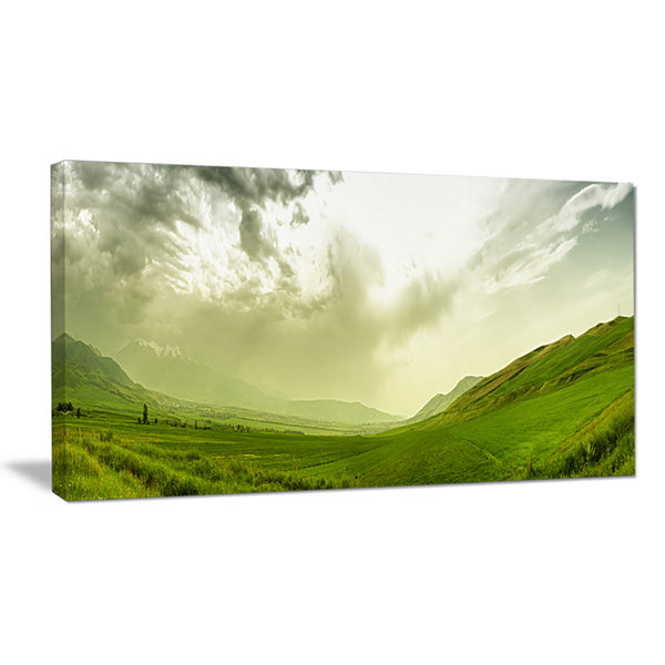 Designart Meadow Under Clouds Panorama Landscape Canvas Wall Art