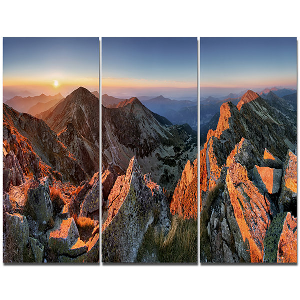 Designart Majestic Sunset In Fall Mountains Landscape Canvas Wall Art - 3 Panels