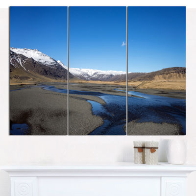 Designart Mountains And Lakes Iceland Landscape Canvas Wall Art - 3 Panels