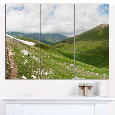 Designart North Caucasus Green Mountains LandscapeCanvas Wall Art - 3 Panels