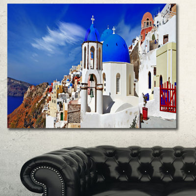 Designart Oia Village Greece Panorama Landscape Canvas Wall Art