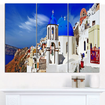 Designart Oia Village Greece Panorama Landscape Canvas Wall Art - 3 Panels