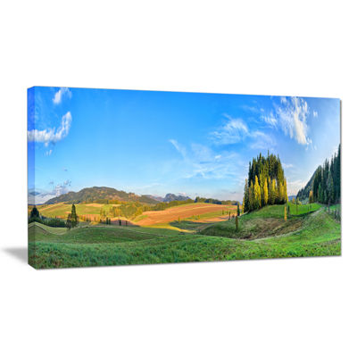 Designart Long Panorama With Little Forest Landscape Canvas Wall Art