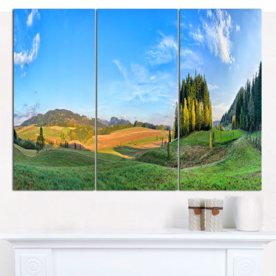 Designart Long Panorama With Little Forest Landscape Canvas Wall Art - 3 Panels