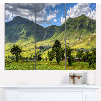 Designart Lesotho Mountains Panorama Landscape Canvas Wall Art - 3 Panels