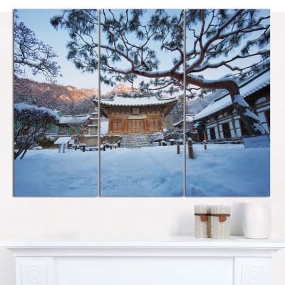 Designart Naesosa Temple In South Korea LandscapeCanvas Wall Art - 3 Panels