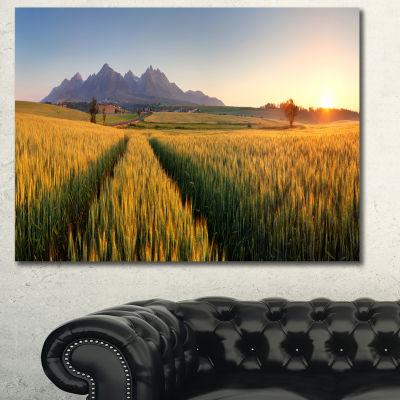 Designart Path In The Wheat Field Landscape CanvasWall Art